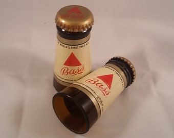 Bass Beer shot glasses made from the necks of beer bottles! Hand cut and polished Set of 2!