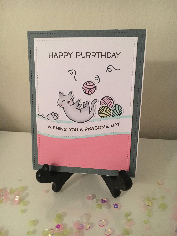 Cat Pun Birthday Card Happy Purrthdaywishing You A