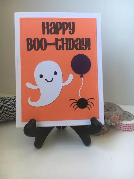 Happy Birthday Card Happy Boo Thday Halloween Etsy