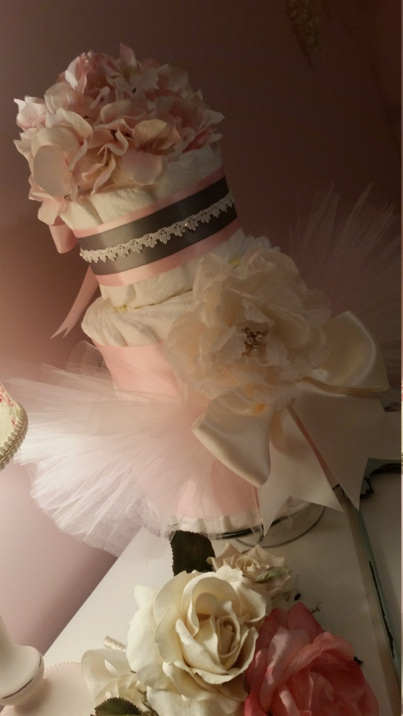 Shabby Tutu Chic Diaper Cake Pink and Grey With Couture Hydrangea and Peony 3 tier Crochet Trim Will Vary