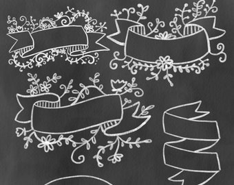 Clipart, chalkboard banners, digital clipart, hand drawn clipart, banners, chalkboard, art