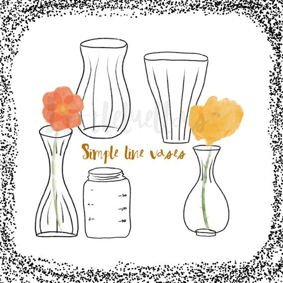 Flower Vases Vase Clipart Simple Clipart Black Line Etsy