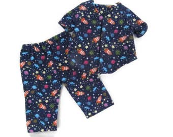 18 inch outer space Pajamas, solar system doll PJs, Rocket ships pajamas, American made, boy doll clothes, planets flannel sleepwear