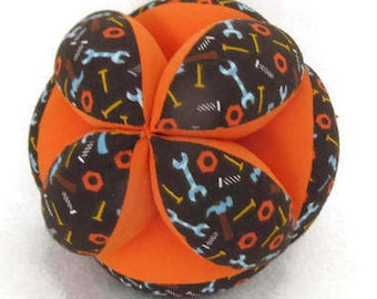 Mechanic's baby clutch ball, orange tool baby ball, STEM baby shower gift, Amish puzzle ball, Montessori toy, grab ball, Tummy Time toy ball
