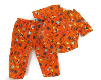 Orange bugs doll flannel pajamas, American made, 18 inch boy doll clothes, soft flannel insect PJ's