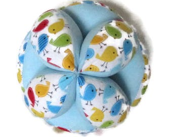 Baby birds Amish puzzle ball, whimsy ball, Montessori baby clutch toy, best baby shower gift, easy grab ball, fabric grip ball