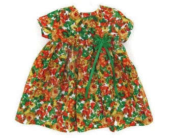 18 inch floral doll dress, orange poppy doll dress, American made, girl doll clothes, flowered summer doll outfit