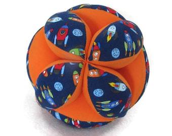 Rocket Montessori whimsy ball, Space sensory grab ball, Amish puzzle ball, baby grip ball, astronaut baby ball, American made