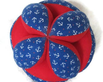 Anchor baby clutch ball, Nautical Montessori toy, best baby shower gift, American made sensory learning Amish puzzle ball