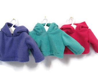 18 inch doll hoodie, pullover fleece doll jacket, American made, girl doll clothes, hooded fleece doll coat