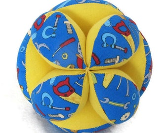 Baby tools Montessori ball, carpenter clutch ball, Amish puzzle ball, Sensory Tummy Time toy