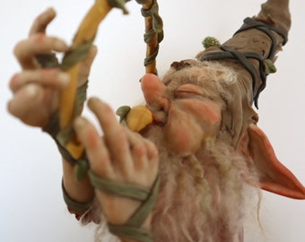 Fantasy Creature - Ooak Figurine - Handmade Art doll - Ooak Trompetist Elf -  Musician Goblin