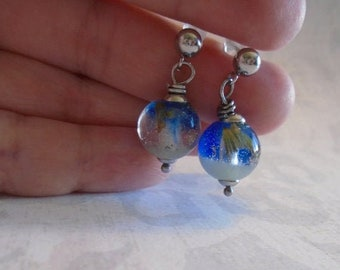 Fairy Orbes Earrings with Lavender and Moss - Glow in the dark