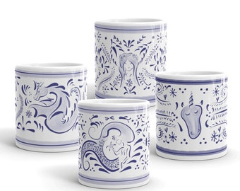 Talavera Mugs with a Fantasy Sparkle on Them. Lovely Combination of Designs