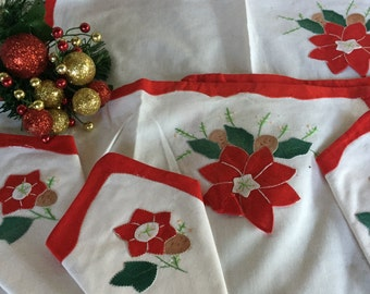Vintage Christmas,Handmade set of 4 Place mats and 4 Napkins handsewn poinsettia and leaves embroidery handiwork detail holiday table