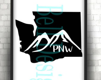 WASHINGTON State Mountain Skyline File PNW, Digital Instant Download, svg Cut Files Silhouette Cricut, Plotter WA State, Pacific Nw Outdoors