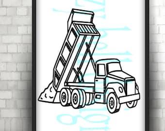 DUMP Truck SVG Construction Trucks Kids Digital Instant Download Svg Png Dxf Machines Cut Files Dumping Dirt