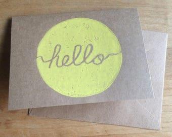 Hello greeting card, hand printed linocut block print, 4 x 5.5