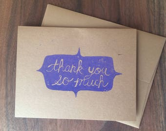 Thank You So Much fancy shape, greeting card, hand printed linocut block print, A2 4.25 x 5.5