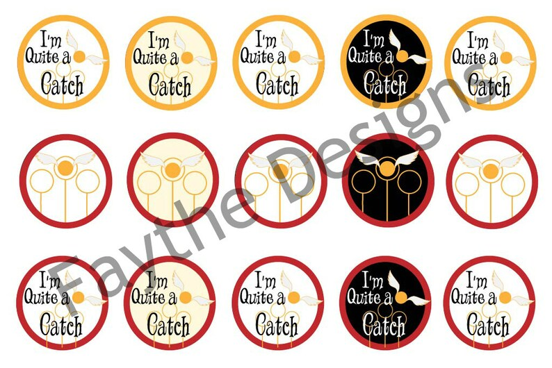 Bottle Cap Image, BCI, Instant Download, Digital File, I'm Quite a Catch,  Snitch, Quidditch, Scrapbooking Image, 4x6 Design, Hair Bow Center