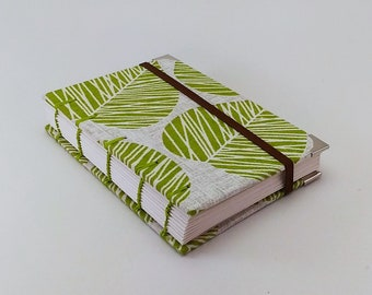 Handmade Coptic stitch A6 binding book journal / sketchbook / notebook / diary - Nature inspired fabric cover