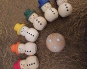Snowman bowling game, stocking stuffer for children, bowling