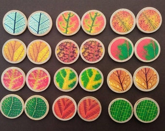 Leaf Matching Game, Wood Game, Montessori, Reggio, Memory Game