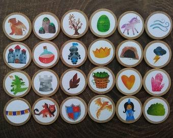 Medieval Storytelling Game, Story Stones, Wooden Game, Medieval Children's Gift, Medieval Game, Montessori Preschool, Homeschool Literacy