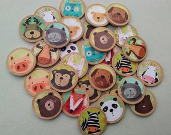 Animal Memory Game, Matching Game, Montessori, Wooden Toy, Animal Children's Toy, Reggio, Preschool