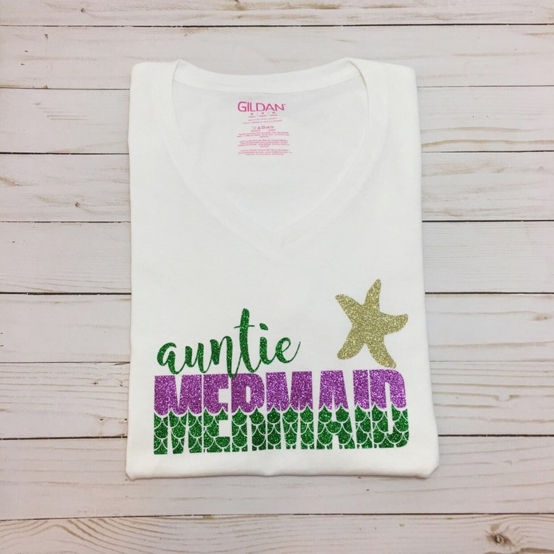 304f00672 Auntie aunt Mermaid t-shirt shirt women Auntie and me | Etsy