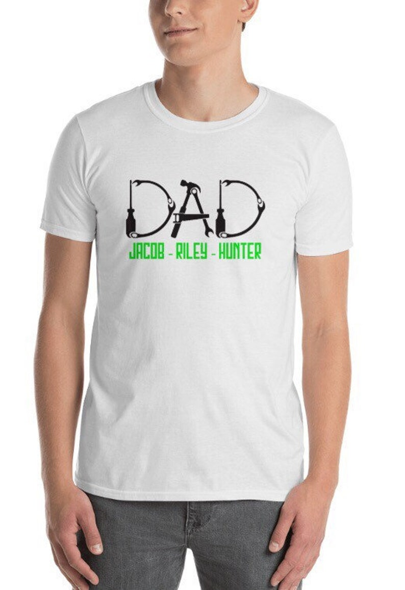 bfc2231d Customizable Father's Day dad tool shirt kids name | Etsy