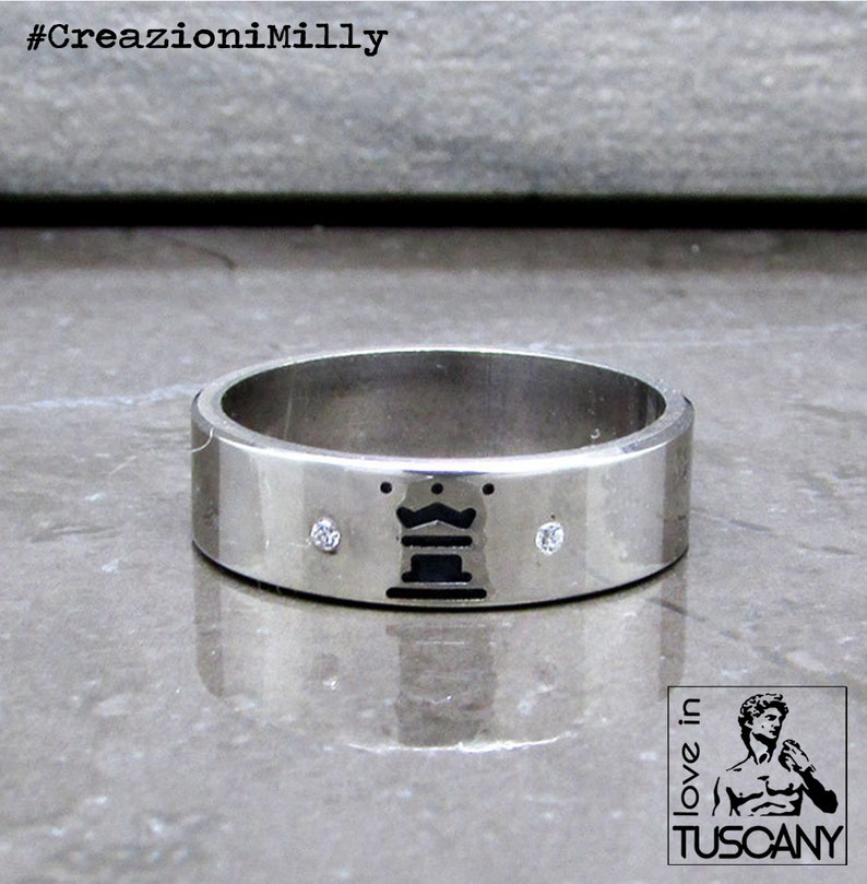 King /& Queen Chess Silver Rings