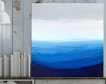Ocean Painting, Palette Knife art, Waves, Beach painting, Modern Coastal art, Seascape art, Painting on canvas, Mini art, Nikki Chauhan