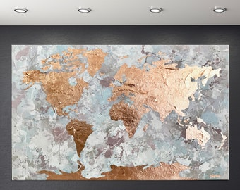 Gold leaf world map etsy map of the world copper leaf art modern map art world map decal rose gold decor office decor living room decor world map wall art gumiabroncs Choice Image
