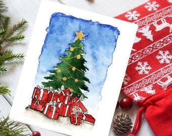 christmas gifts handmade holiday cards watercolor christmas cards season greetings merry christmas holiday wishes boxed card bulk pack - Cheap Christmas Cards In Bulk