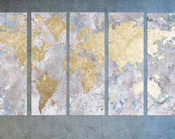 World map large world map gold leaf painting map of the world map canvas map of the world world map wall art gold leaf painting office wall art large world map gold leaf art living room art gumiabroncs Gallery