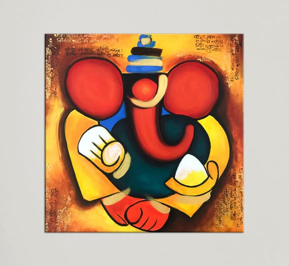 Ganesha Painting Indian Art Painting On Canvas Contemporary Etsy