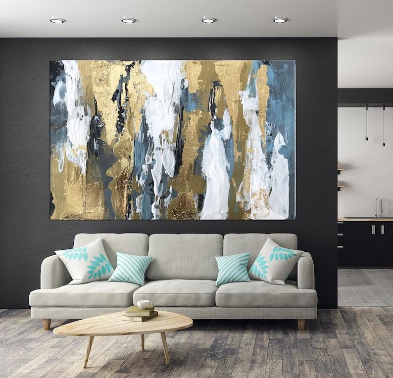 5ecbad49030b Blue Abstract art Gold art Gold Leaf Wall Art Modern Abstract