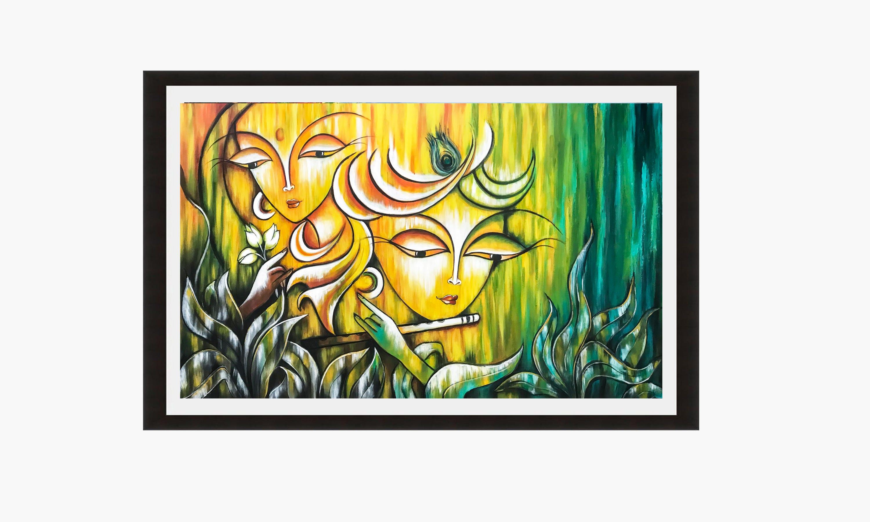 Radha Krishna Indian art Print Hindu God Modern India | Etsy