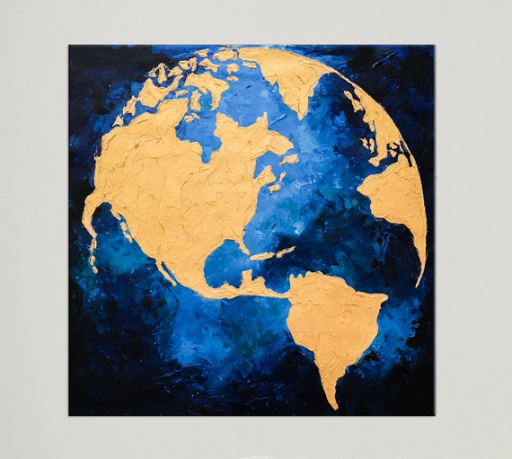 Modern canvas art globe map world map painting gold leaf gumiabroncs