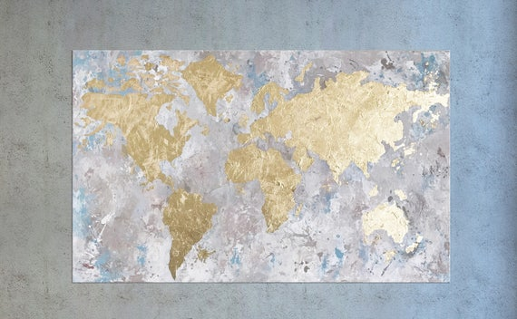 Large World map, World map canvas, Oversize wall art, Gold Leaf painting,  World Map wall art, Map of the World, Office Decor, Gold foil art