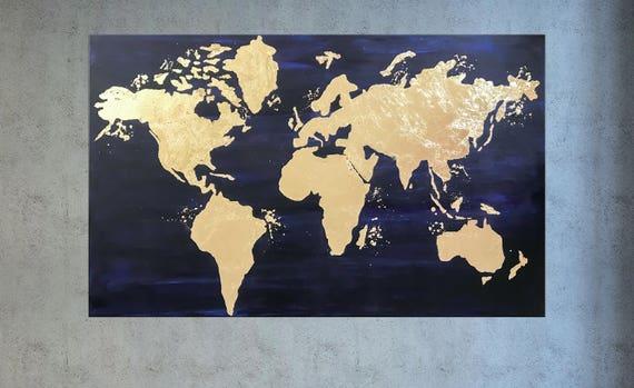 Gold leaf painting world map canvas navy blue gold world etsy image 0 gumiabroncs Choice Image