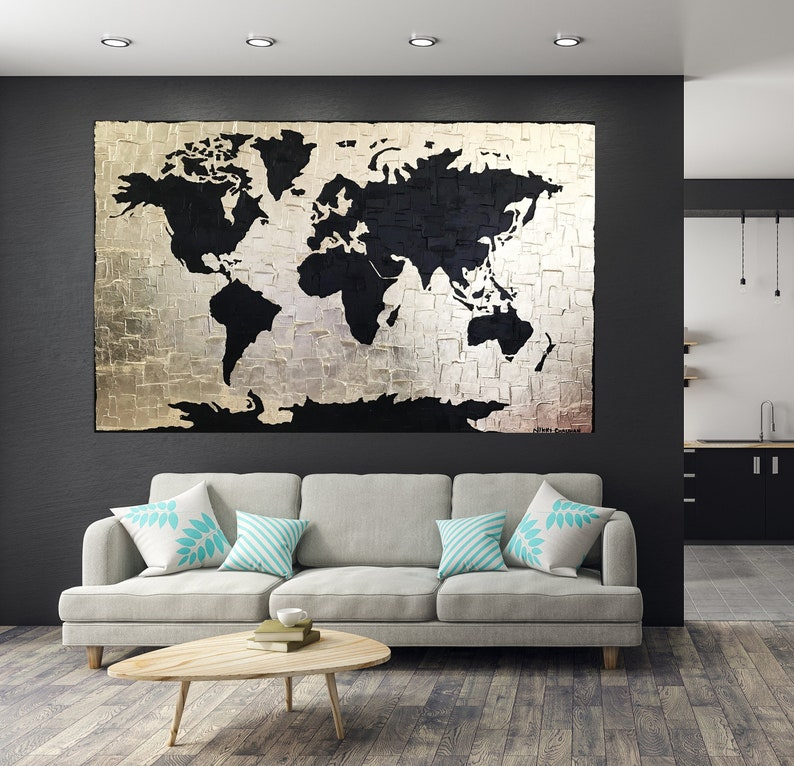 32b0f6b4a540 Black Gold art Gold Leaf painting Large World Map painting