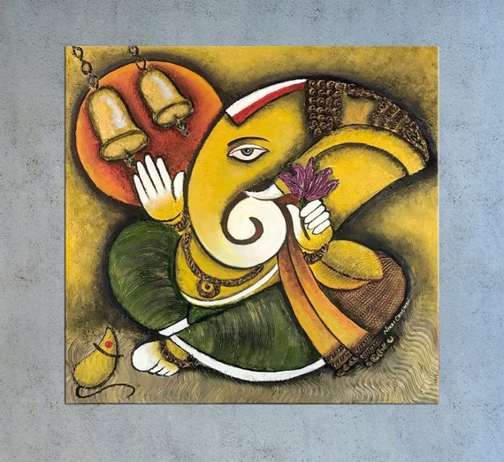 Ganesha Indian decor Ganesha painting Indian art India wall | Etsy