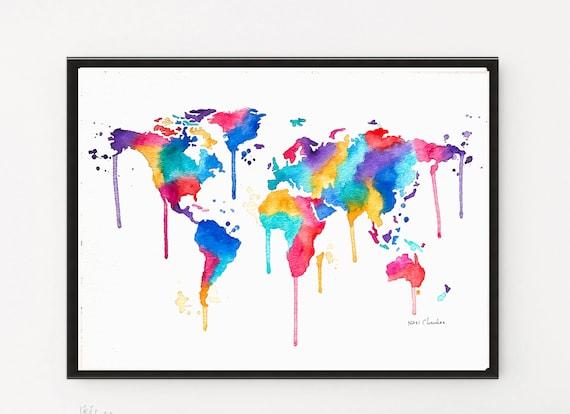 World map art map print kids room decor nursery art etsy image 0 gumiabroncs Choice Image