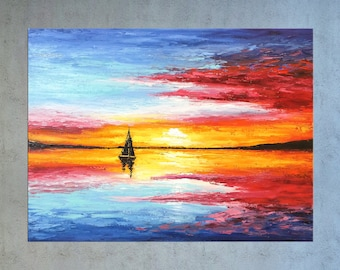 Sunset painting, Palette knife Seascape art, Oil painting, Sailing boat, Nautical, Beach, Modern wall art, Landscape, Coastal Home decor.