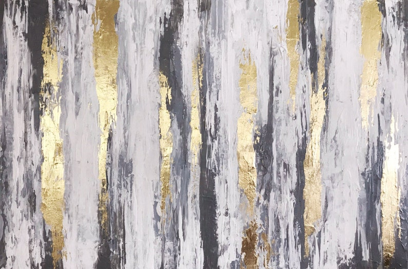 40253fc6d04 Neutral wall art Silver Grey Gold Abstract art Gold Leaf