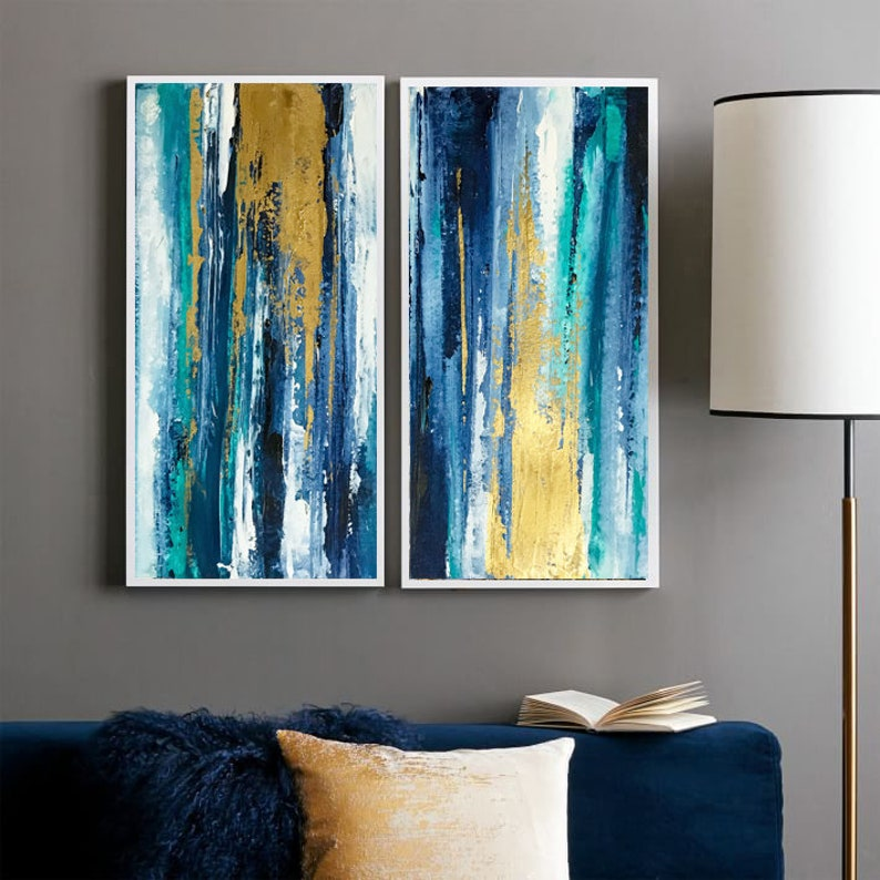 Blue Teal Gold Abstract Art Multi Panel Art Teal Abstract Art Living Room Decor Abstract Painting On Canvas Gold Wall Art Diptych Abstract