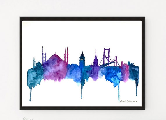 ISTANBUL SKYLINE WATERCOLOUR PAINT STYLE CANVAS PRINT WALL ART PICTURE PHOTO