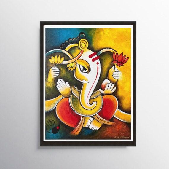 Indian Print Ganesha print Indian art Hindu wall art Asian | Etsy
